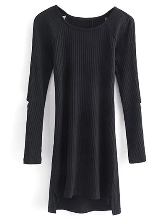 Cutout Ribbed Knitwear Dress - BLACK M Mobile