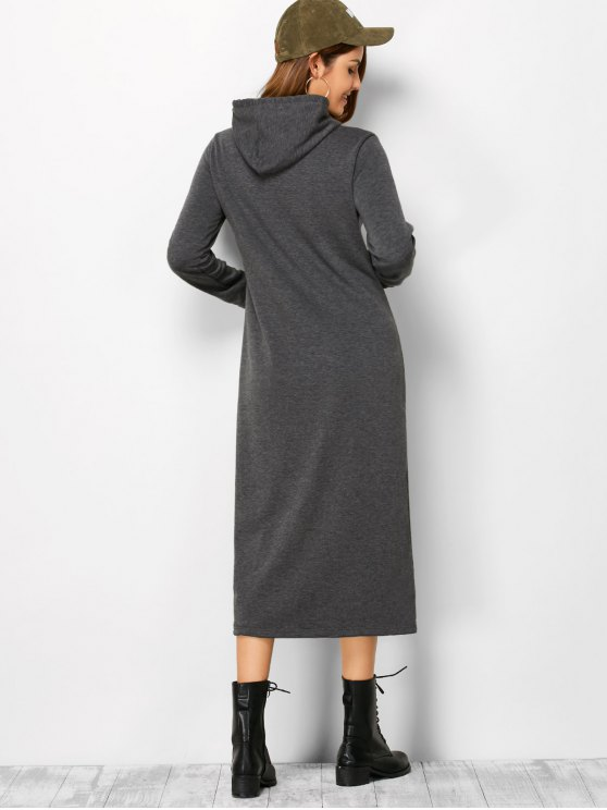 Long Sleeve Hooded Straight Dress - DEEP GRAY XL Mobile