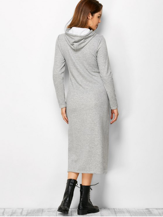 Long Sleeve Hooded Straight Dress - LIGHT GRAY M Mobile