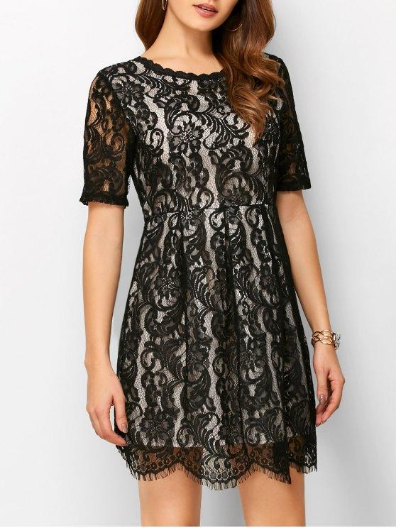 A Line V Back Lace Dress - BLACK S Mobile
