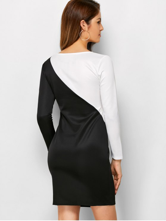 Color Block Cutout Sheath Dress - WHITE AND BLACK S Mobile