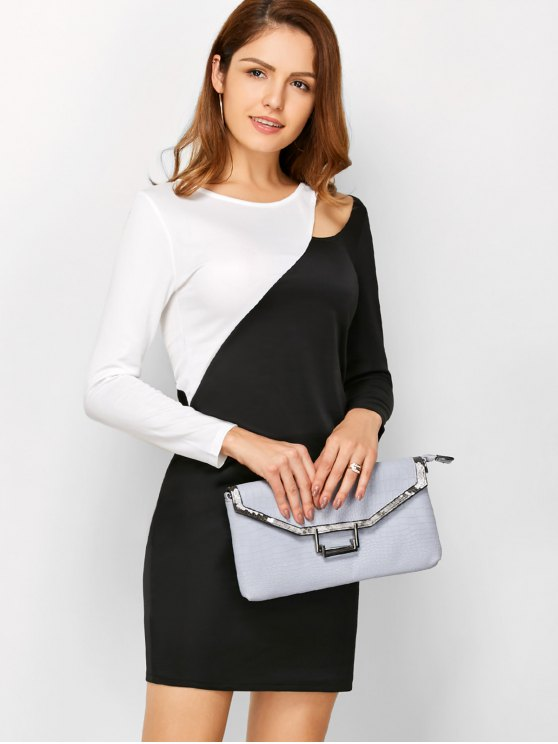 Color Block Cutout Sheath Dress - WHITE AND BLACK M Mobile
