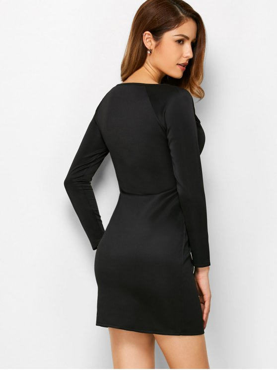 Cut Out Slash Neck Sheath Dress - BLACK S Mobile