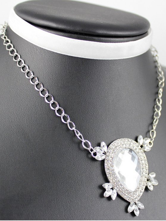 Layered Teardrop Velvet Choker - SILVER  Mobile