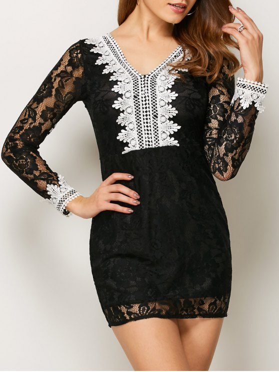 outfits V Neck Bodycon Mini Lace Dress - BLACK M