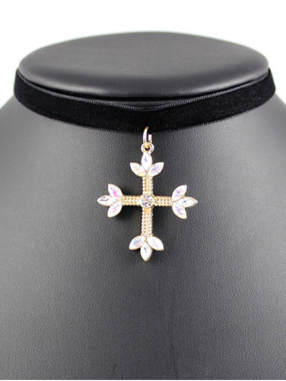 Cross Velvet Choker - BLACK  Mobile