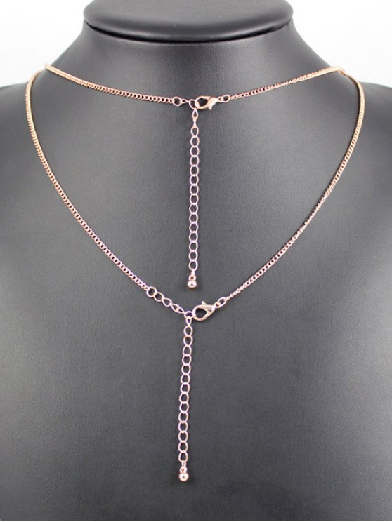 Layered Ring Bar Necklace - ROSE GOLD  Mobile