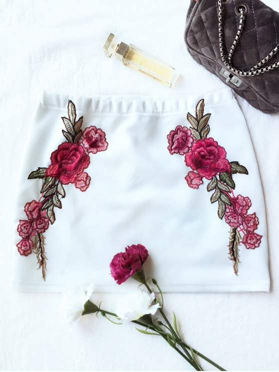 Rose Mini Bodycon Skirt - WHITE 2XL Mobile
