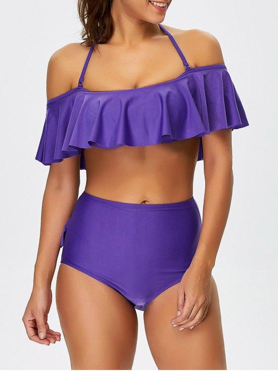 High Waisted Halter Flounce Bikini - PURPLE S Mobile