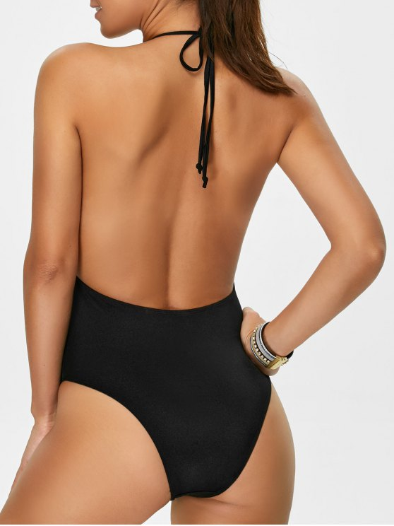 Backless Plunge Neck Lacework Swimwear - BLACK XL Mobile