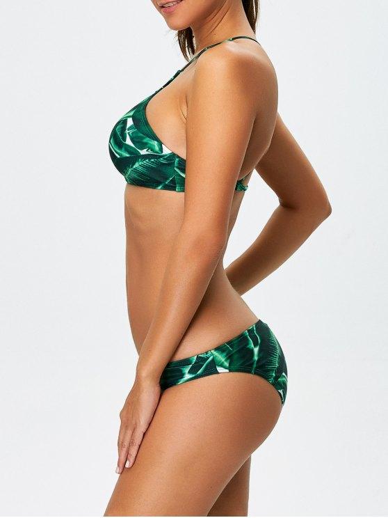 Women Leaves Print Bikini Set - GREEN S Mobile