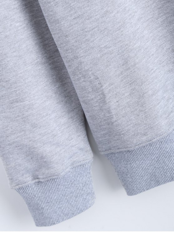 Streetwear Letter Pattern Sweatshirt - GRAY M Mobile