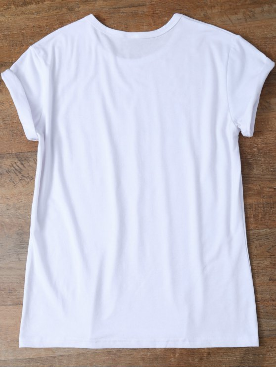 Jewel Neck Letter T-Shirt - WHITE S Mobile