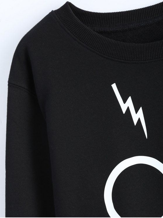 Streetwear Glasses Pattern Sweatshirt - BLACK S Mobile