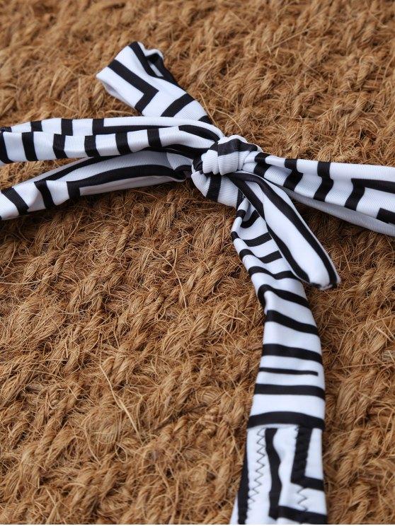 Stripe Leaf Print Halter Bikini - MULTICOLOR XL Mobile