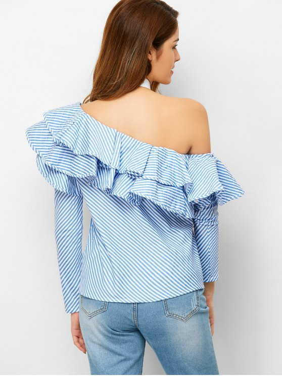Skew Neck Ruffles Striped Blouse - STRIPE S Mobile