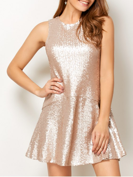 Sequined Cut Out Jewel Neck Dress - BEIGE L Mobile