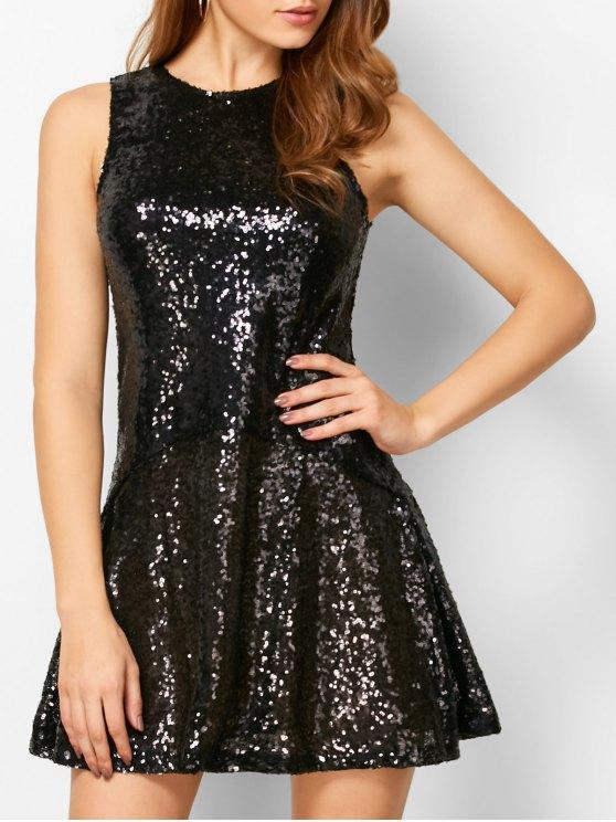 De lentejuelas Recortable Joya vestido de cuello - Negro S