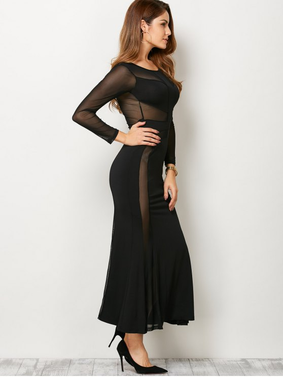 See Thru Mesh Panel Bandage Maxi Dress - BLACK L Mobile