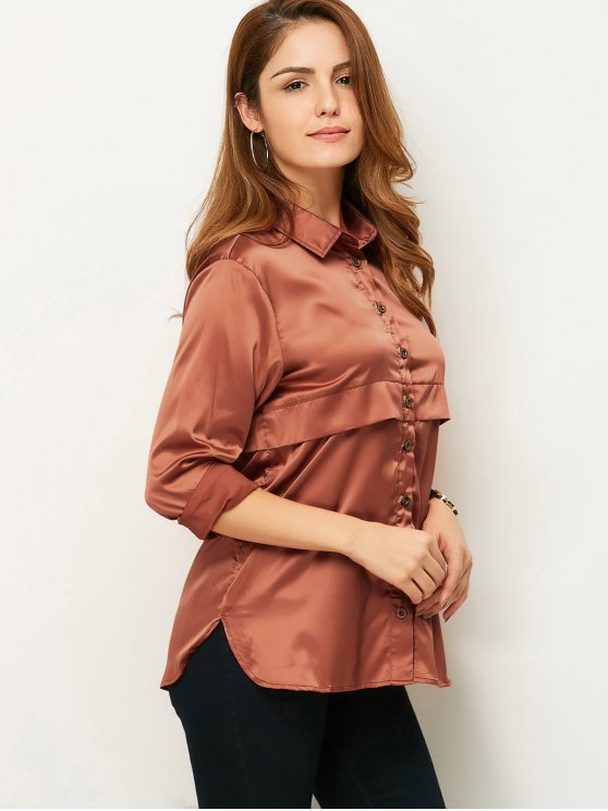 Long Sleeve Loose Shirt - BROWN 2XL Mobile