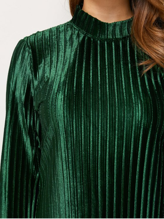 Long Sleeve Pleated Pleuche Party Knee Length Dress - GREEN S Mobile