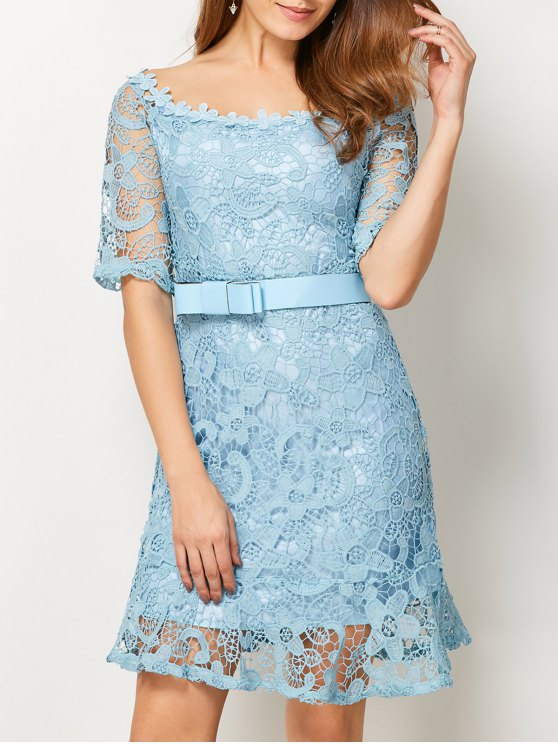 Scoop Neck Belted Lace Dress - LIGHT BLUE L Mobile