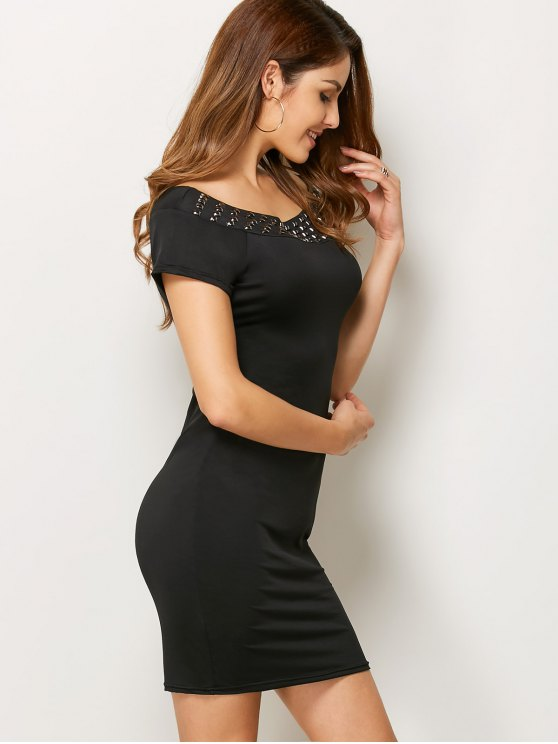 Rhinestone Scoop Neck Bodycon Dress - BLACK S Mobile
