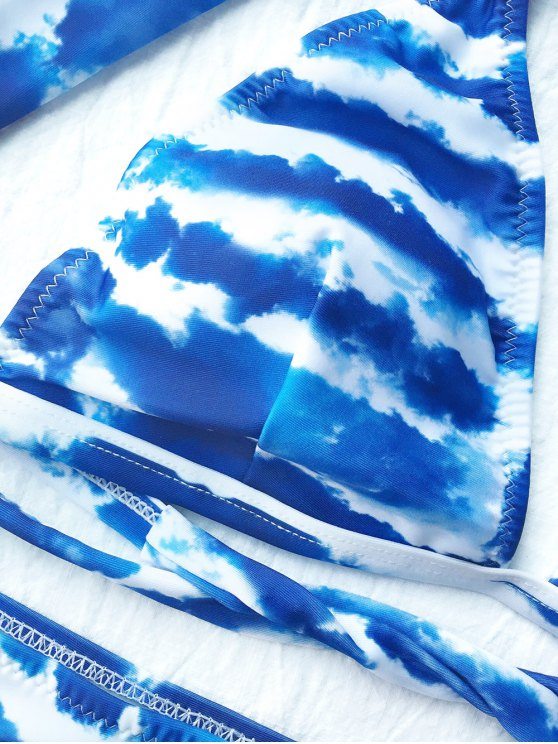 Tie Dyed Plunge Bikini Set - BLUE AND WHITE M Mobile