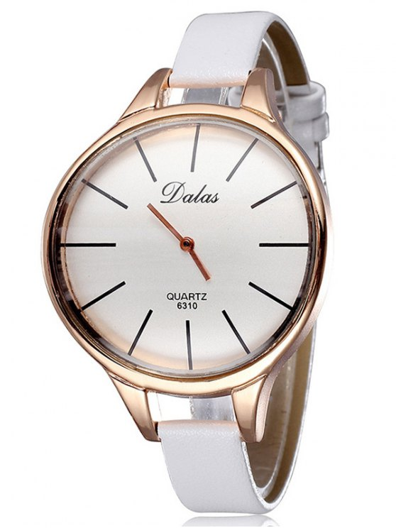 Faux Leather Curved Analog Watch - WHITE  Mobile