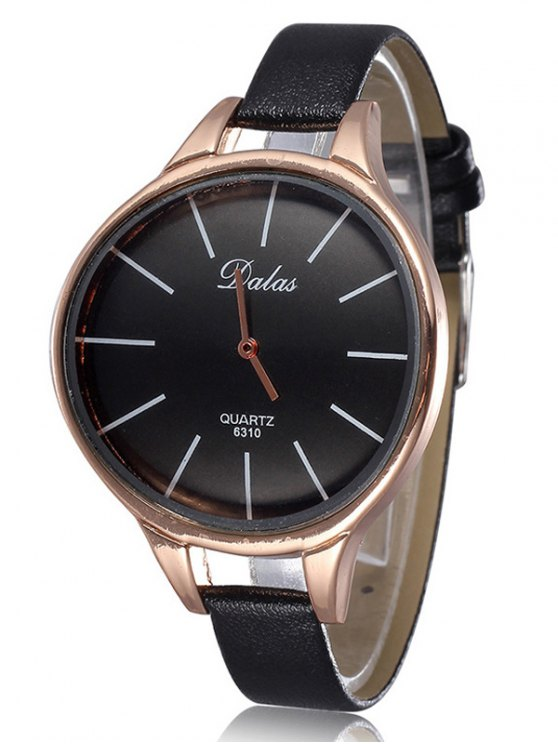 Faux Leather Curved Analog Watch -   Mobile