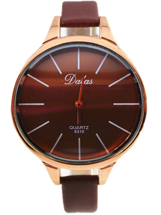 Faux Leather Curved Analog Watch - COFFEE  Mobile