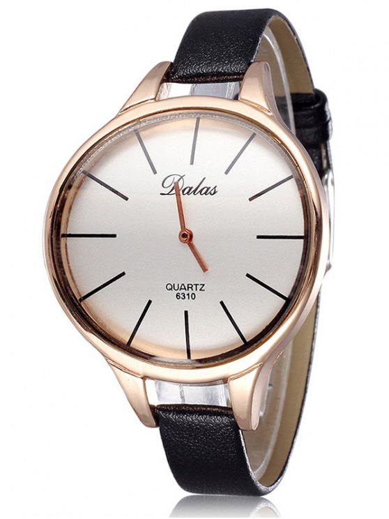 Faux Leather Curved Analog Watch - WHITE AND BLACK  Mobile