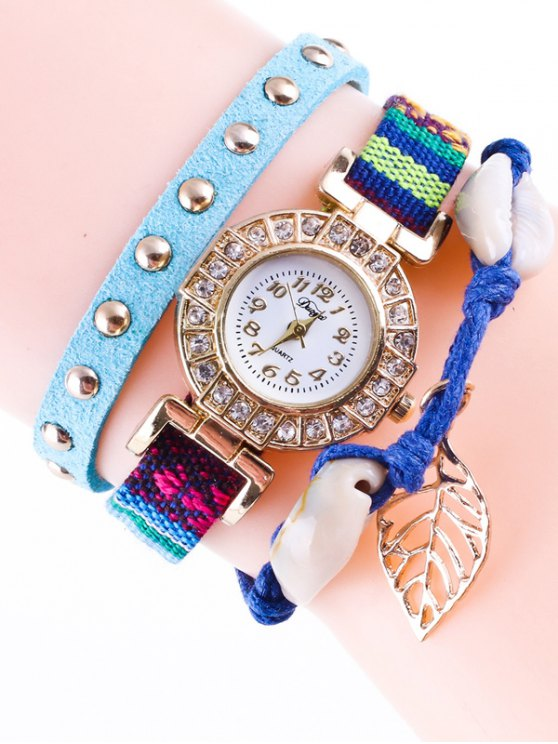 Braided Rhinestone Strand Bracelet Watch - BLUE  Mobile