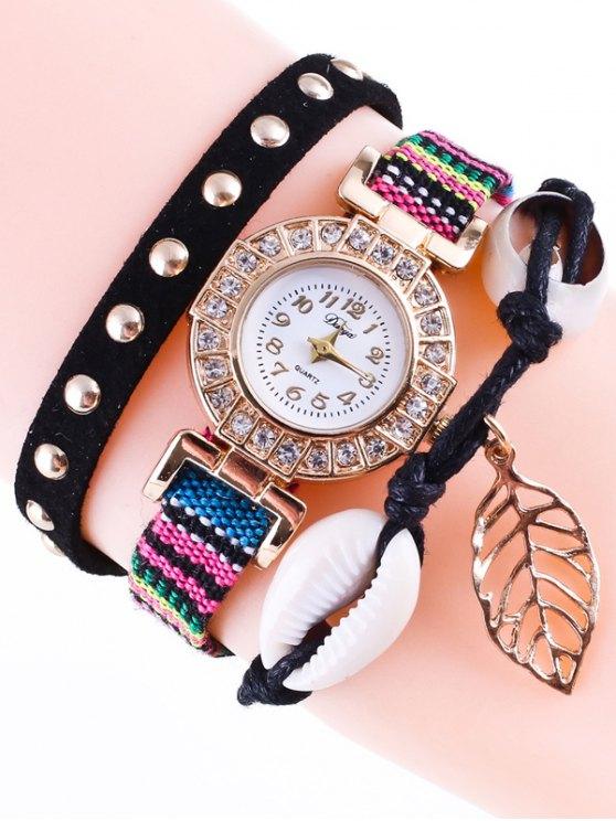 Braided Rhinestone Strand Bracelet Watch - BLACK  Mobile