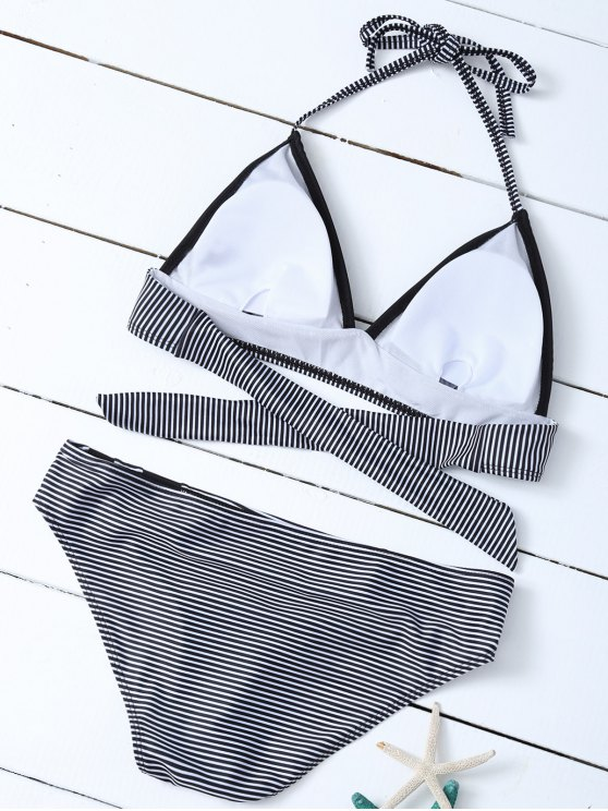 Stripe Plunge Bikini Set - WHITE AND BLACK S Mobile
