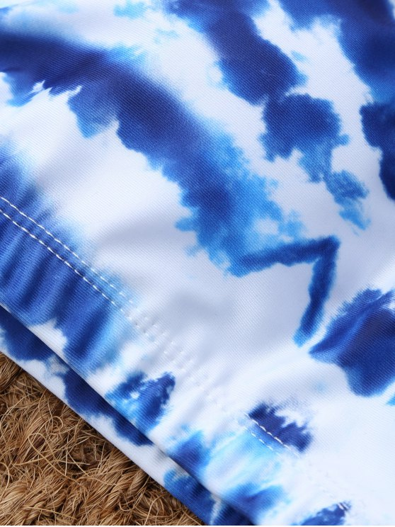 U Neck Tie Dyed Cute Bathing Suit - BLUE AND WHITE M Mobile