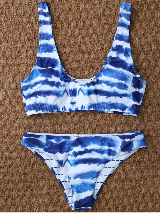 U Neck Tie Dyed Cute Bathing Suit - BLUE AND WHITE L Mobile