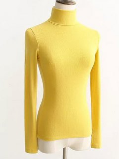 Turtleneck Ribbed Tight Sweater - Yellow