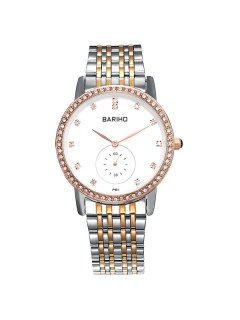 Stainless Steel Rhinestoned Quartz Watch - Rose Gold