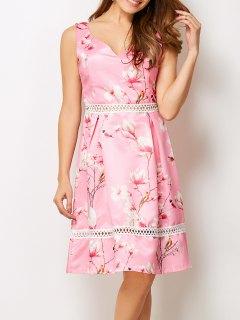 V Neck Floral Hollow Out Dress - Pink S