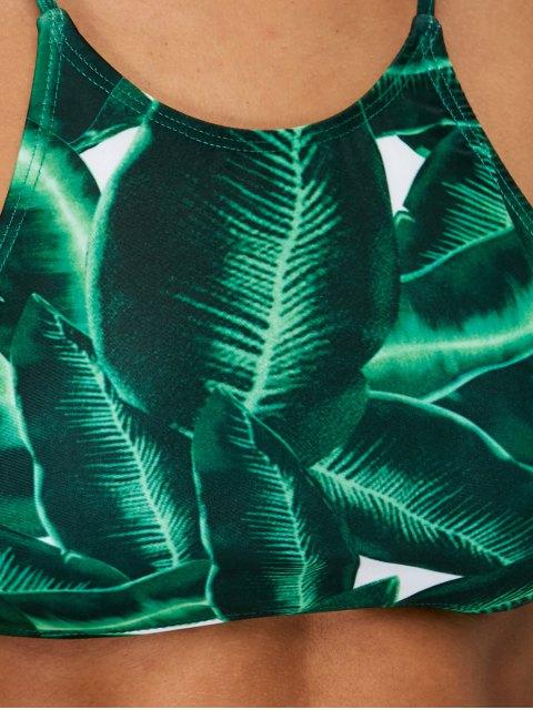 online Women Leaves Print Bikini Set - GREEN XL Mobile