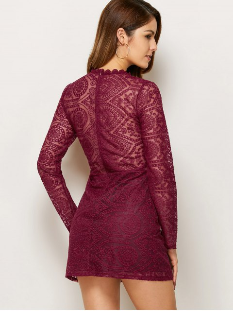 sale Lace Ruff Collar Mini Dress - BURGUNDY S Mobile
