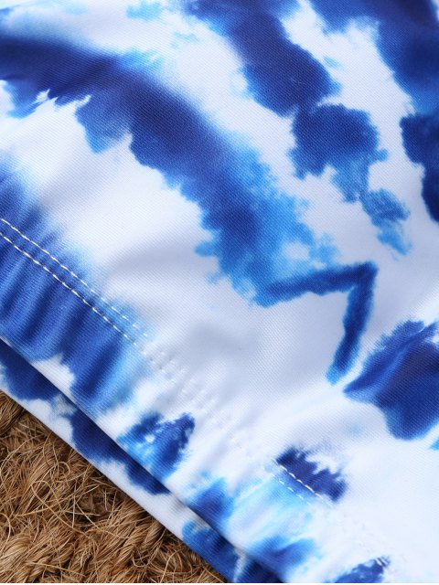 outfits U Neck Tie Dyed Cute Bathing Suit - BLUE AND WHITE S Mobile