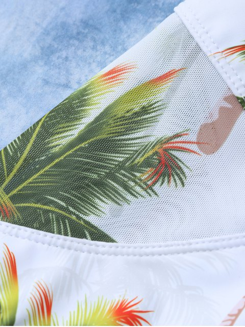 chic Coconut Palm Tree Print Swimsuit - WHITE M Mobile