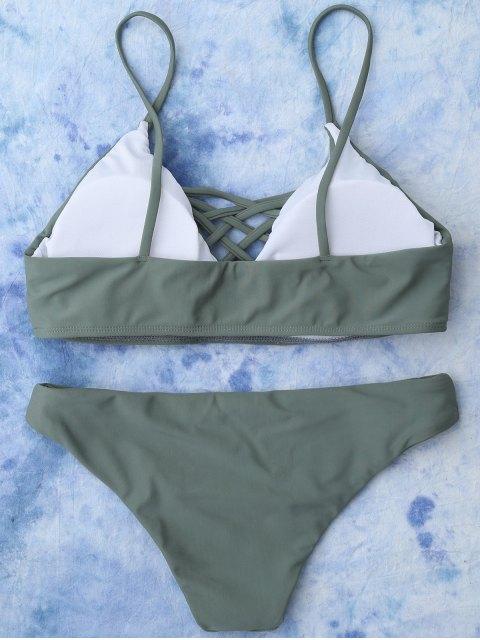 online Lace Up Bikini Swimwear - ARMY GREEN M Mobile