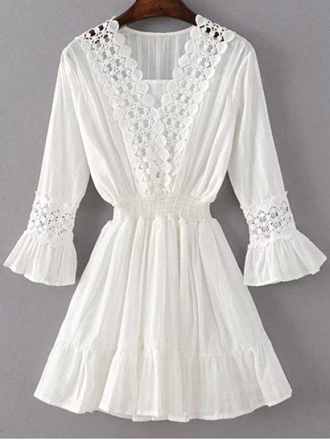 fashion Shirred Lacework Dress - WHITE S Mobile
