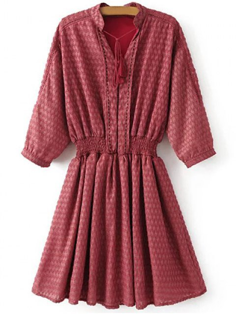 fancy Hollow Out Shirred Dress - RED M Mobile