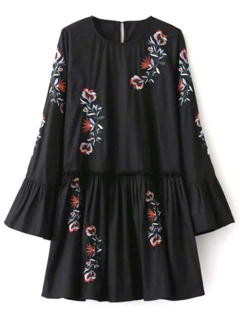 women's Long Bell Sleeve Embroidered Dress - BLACK L Mobile