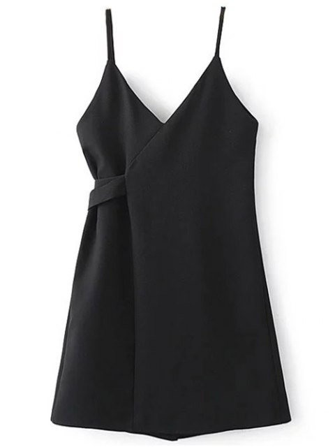affordable Self Tie Wrap Cami Dress - BLACK M Mobile