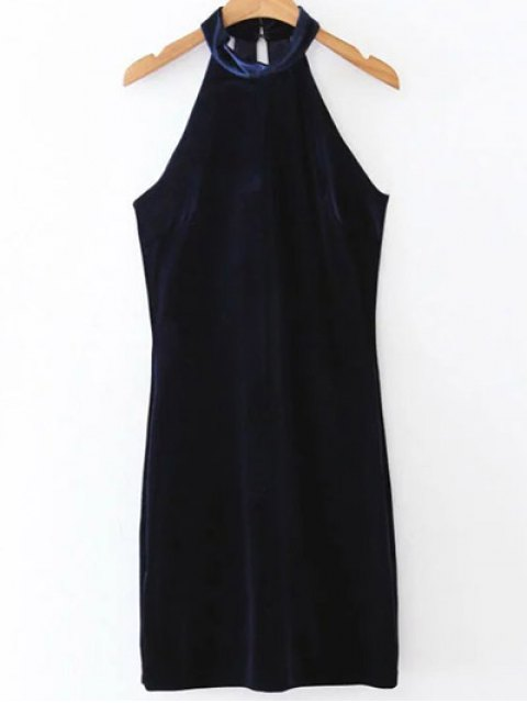 sale Halter Velvet Bodycon Dress - PURPLISH BLUE M Mobile